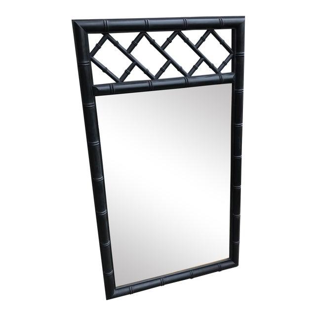Mid-Century Black Bamboo Mirror - Image 1 of 7