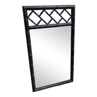 Mid-Century Black Bamboo Mirror