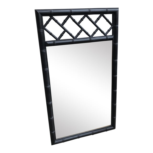 Image of Mid-Century Black Bamboo Mirror