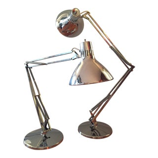Vintage Luxo Articulated Chrome Desk Lamps - A Pair