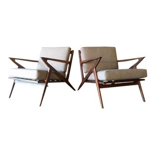 Selig Style Mid-Century Walnut Chairs - A Pair