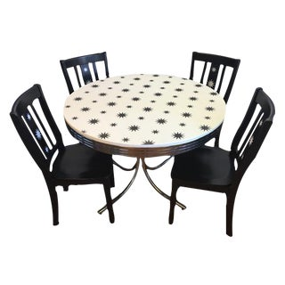 Retro Black & White Table & Chairs - Set of 4