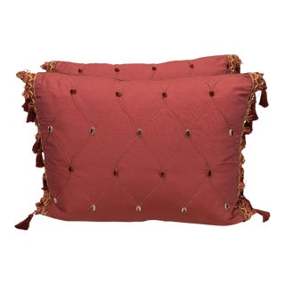 Red Silk Pillows with Dots - A Pair