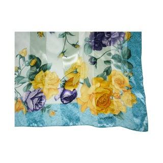 Large Valentino Rose Print Silk Scarf