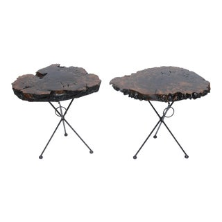 Claro Walnut and Iron Folding End Tables