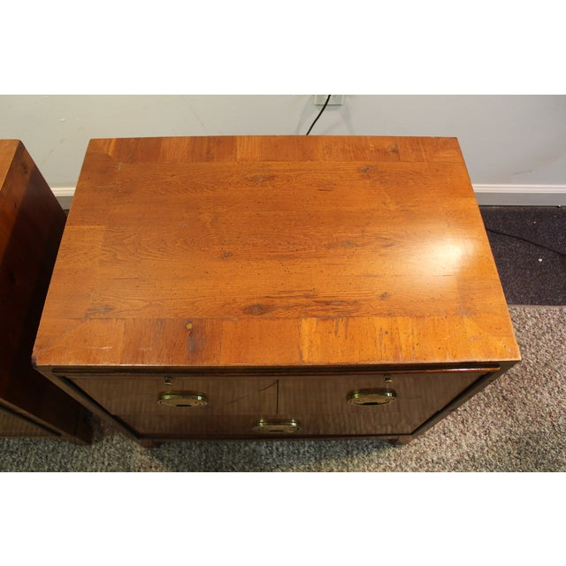 Mid-Century Campaign Style Nightstands - A Pair - Image 6 of 11