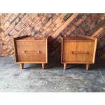 Image of Mid-Century Walnut Side Tables - A Pair