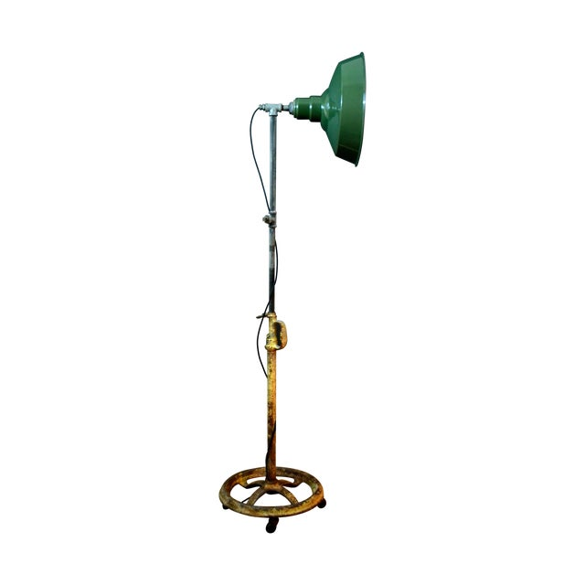 Industrial Floor Lamp With Green Enamel Shade - Image 1 of 8