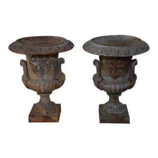 Cast Iron Urns - A Pair