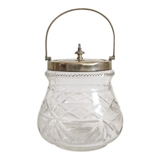 1930s Slack and Barlow English Cut-Glass and Silver Biscuit Jar