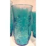 Image of Turquoise Glass Daisy Tumblers - Set of 9