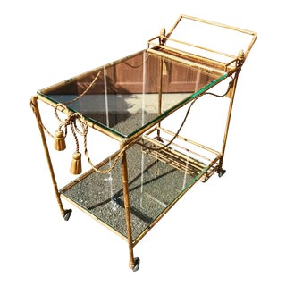 Italian Neoclassical-Hollywood Regency Gilt Metal Bar Cart