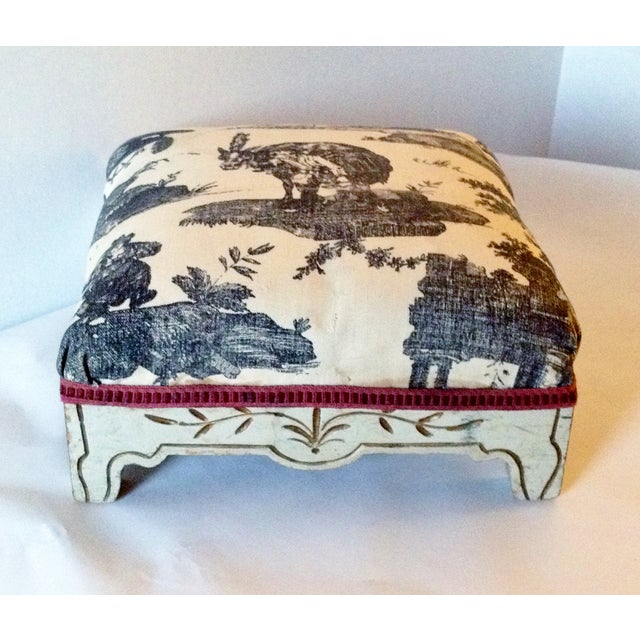 Painted French Footstool with Black & White Toile - Image 2 of 6