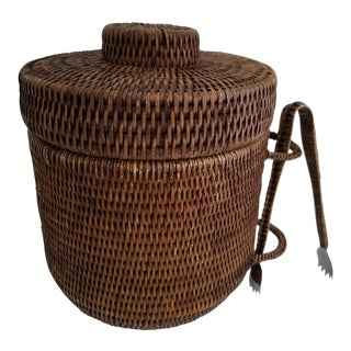 Vintage Wicker Covered Ice Bucket With Tongs