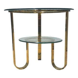 Milo Baughman DIA Tiered Brass & Glass Side Table