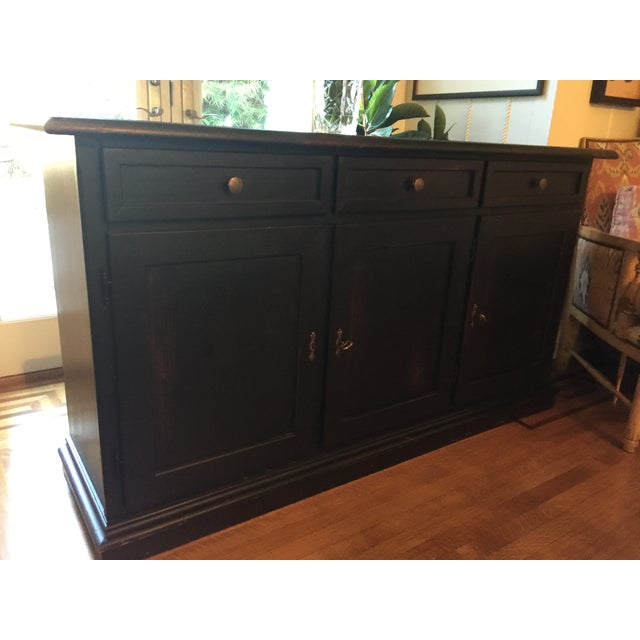 Black Pottery Barn Sideboard with Red Interior - Image 2 of 3