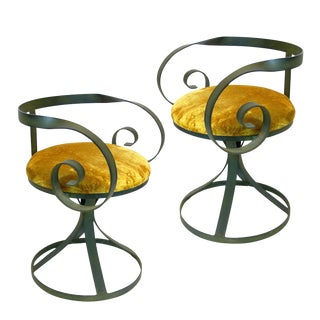 Regency Wrought Iron Curlicue Swivel Chairs - A Pair