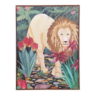 Boho Vintage Original Oil Painting Lion in Jangle Art with frame
