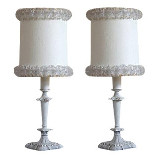 Hand-Painted Candlestick Lamps - A Pair