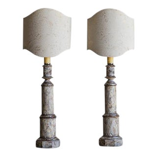 Pair Vintage Faux Painted Italian Column Lamps, Fortuny Pattern Shield Shades circa 1940