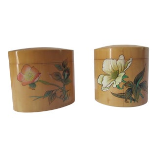 Vintage Bamboo Vanity Boxes- 2 Pieces