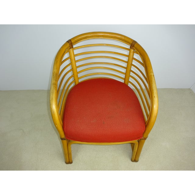 Mid-Century Deco Stylized Rattan Arm Chair - Image 8 of 10