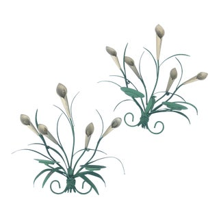 Painted Tole Floral Sconces - a Pair
