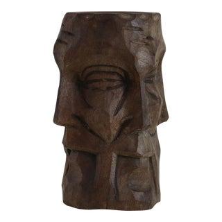 Hand Carved Face Vessel