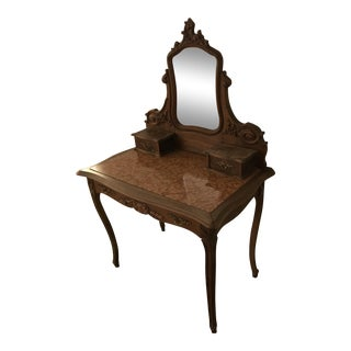Antique Louis XV Style Walnut & Marble Vanity