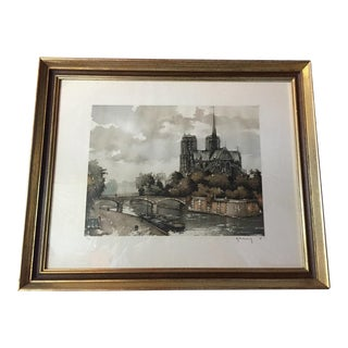 Etching of Notre Dame