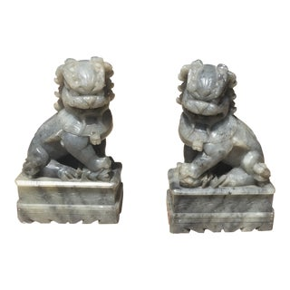 Chinese Stone Fu Dog Bookends- A Pair