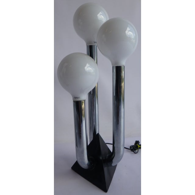 Mid-Century Modern Chrome 70's Lamps- A Pair - Image 6 of 8