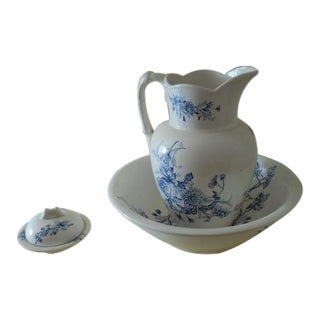 Antique Ironstone Blue Pattern Bowl & Pitcher and Soap Dish - Set of 3
