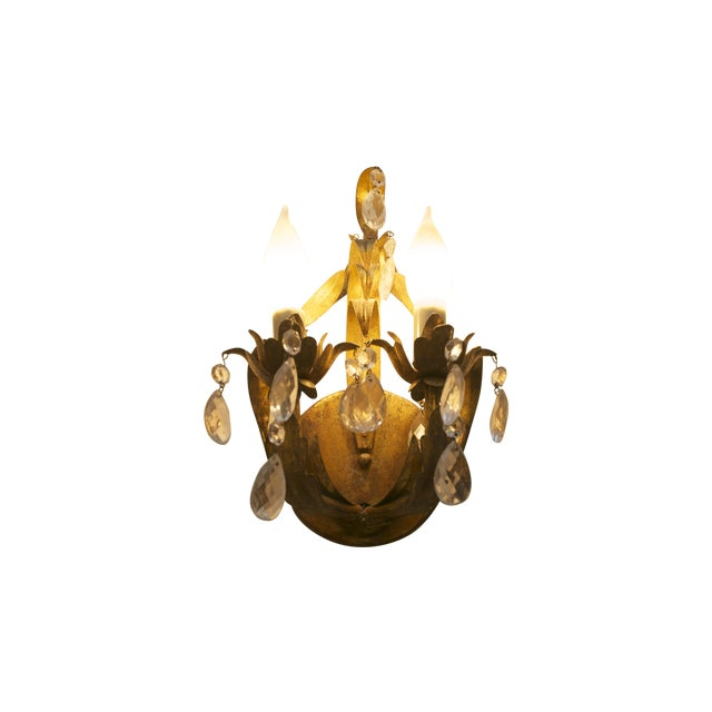 Crystal & Aged Brass Sconces - A Pair - Image 1 of 5
