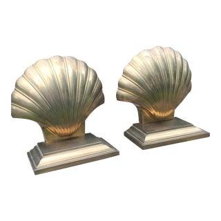 Vintage Brass Shell Brass Bookends - A Pair