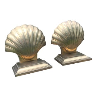Vintage Brass Shell Brass Bookends - A Pair
