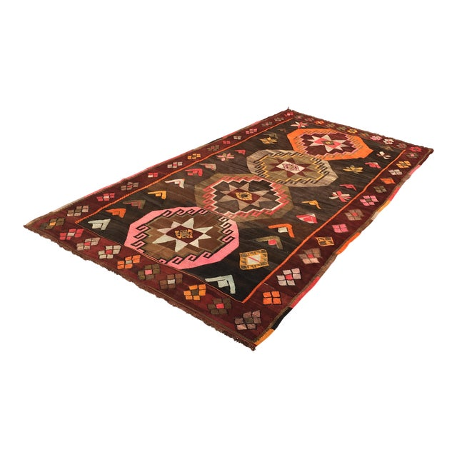 Vintage Turkish Kilim Rug - 6′4″ × 12′ - Image 1 of 10