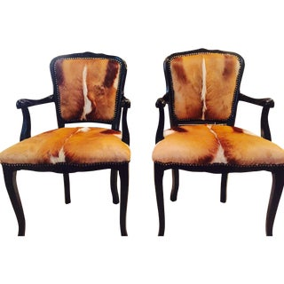 South African 'Springbok' Accent Chairs - A Pair