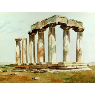 Ancient Greece Ruins Watercolor Painting