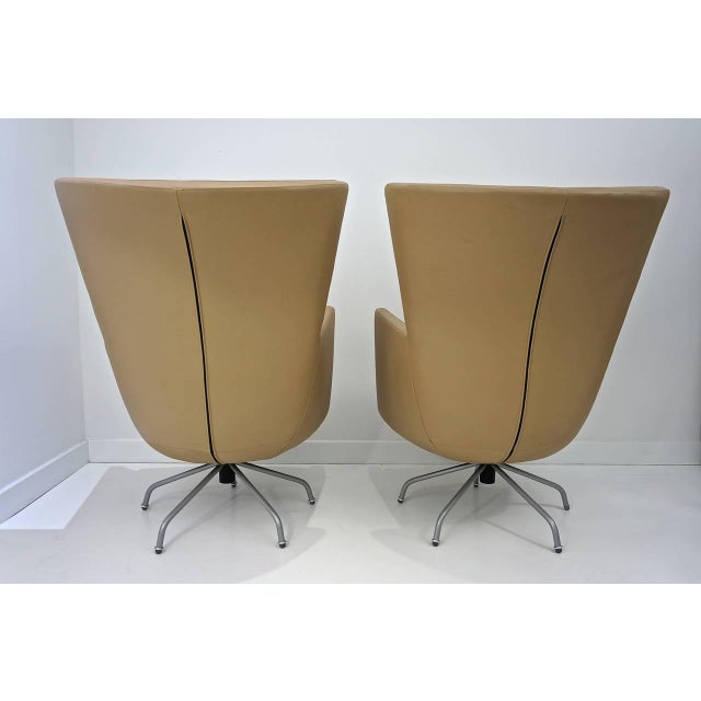 Pair of Modern, Italian, Swivel Lounge Chairs, Upholstered in Tan Color Leather - Image 8 of 9