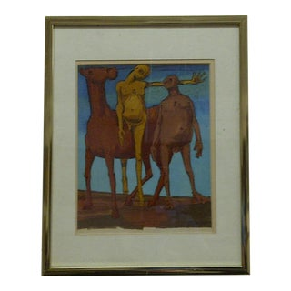 "Original Framed Painting ""Nudes on a Horse"""