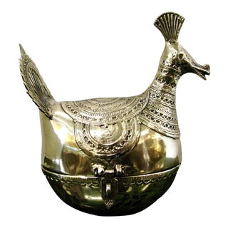 Antique Polished Brass Large Dhokra Peacock Box