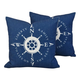 Nautical Beach Compass Linen Feather/Down Pillows - Pair