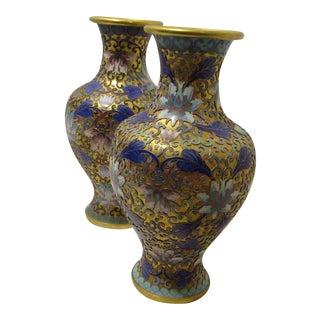 Claisonne Rich Bold Blues Vases - A Pair