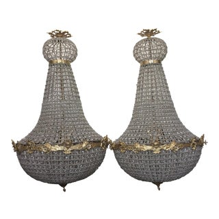 Large Empire Style Beaded Chandeliers- A Pair