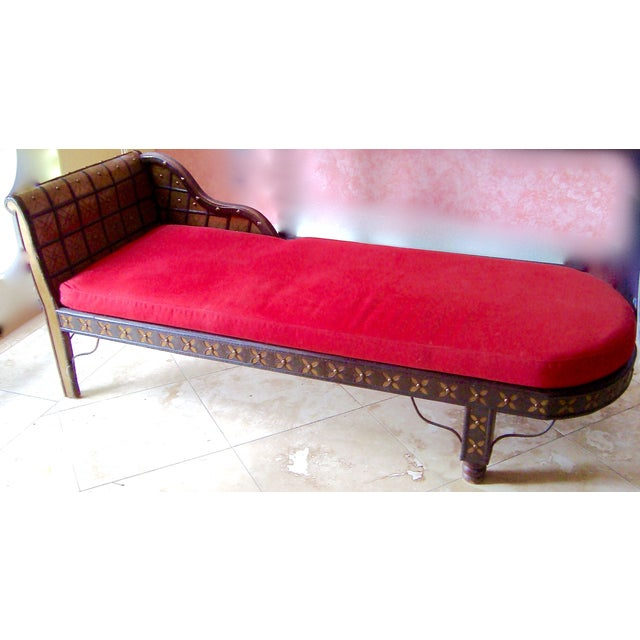 Antique oriental style chaise lounge bronze red chairish for Antique style chaise lounge