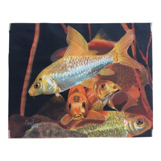 Vintage Coy Fish Original Pastel Framed