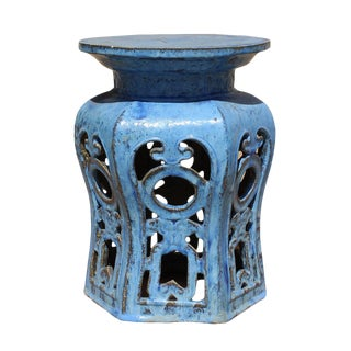 Chinese Distressed Blue Round Ru Yi Clay Ceramic Garden Stool