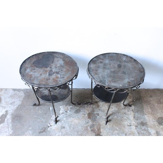 Image of Rustic Wrought Iron Side Table