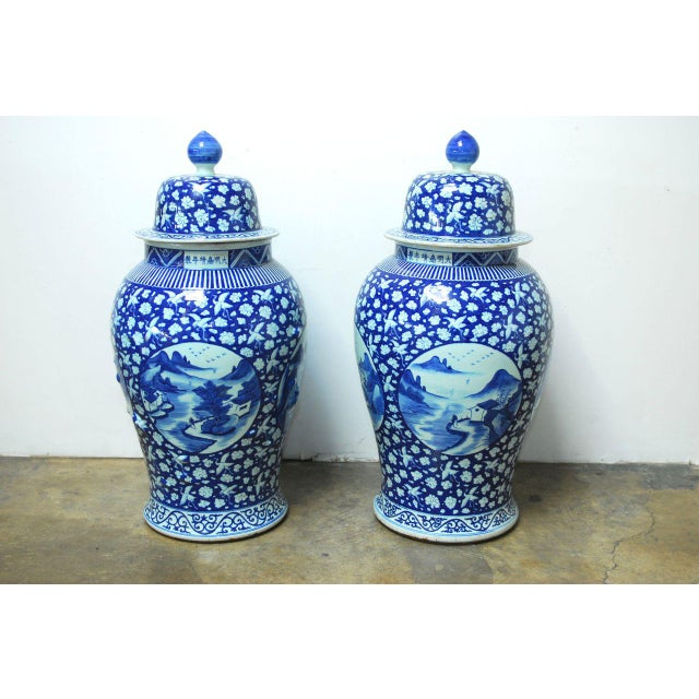 Chinese Blue Amp White Temple Ginger Jars A Pair Chairish